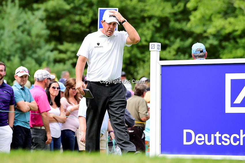 Saturday, September 3, 2016:  Phil Mickelson walks into the sixth tee box during the second round of the Deutsche Bank Championship tournament held at the Tournament Players Club, in Norton, Massachusetts.  Eric Canha/Cal Sport Media