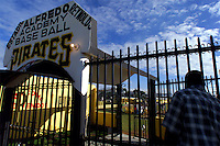 024222.SP.0114.angels21.kc--San Pedro de Macoris--Pittsburg Pirates Academy baseball field in close to the city and uses heavy duty metal gate for security of their facility. The Angels facility on the other hand is further from city center and employs a guard during the night to stand watch. MLB teams invest a lot in their programs in the Dominincan Republic and they want their players and property to remain safe so they can concentrate on baseball.