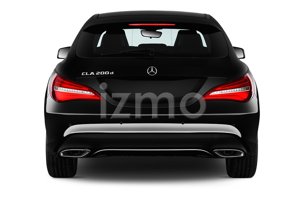 Straight rear view of 2017 Mercedes Benz CLA-Class - 5 Door wagon Rear View  stock images