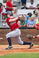 Austin Diemer (11) of the Elizabethton Twins follows through on his swing against the Johnson City Cardinals at Cardinal Park on July 27, 2014 in Johnson City, Tennessee.  The game was suspended in the top of the 5th inning with the Twins leading the Cardinals 7-6.  (Brian Westerholt/Four Seam Images)