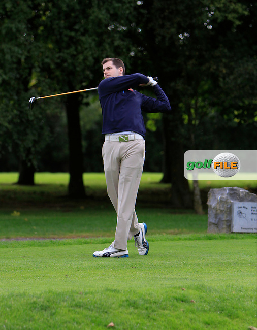 Graeme Laird (Clandeboye) on the 18th tee during for the AIG Cups &amp; Shields Finals in Royal Tara Golf Club on Thursday 19th September 2013.<br /> Picture:  Thos Caffrey / www.golffile.ie