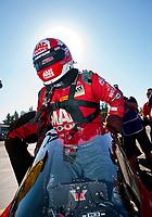 Nov 17, 2019; Pomona, CA, USA; NHRA top fuel driver Doug Kalitta during the Auto Club Finals at Auto Club Raceway at Pomona. Mandatory Credit: Mark J. Rebilas-USA TODAY Sports