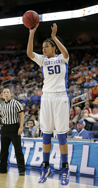 UK forward Azia Bishop goes for a three point shot during the first half of the University of Kentucky women's basketball game vs. University of Georgia during the SEC tournament The Arena at Gwinnett Center in Duluth, Ga. on Saturday, March 9, 2013. UK won 60-38. Photo by Genevieve Adams | Staff