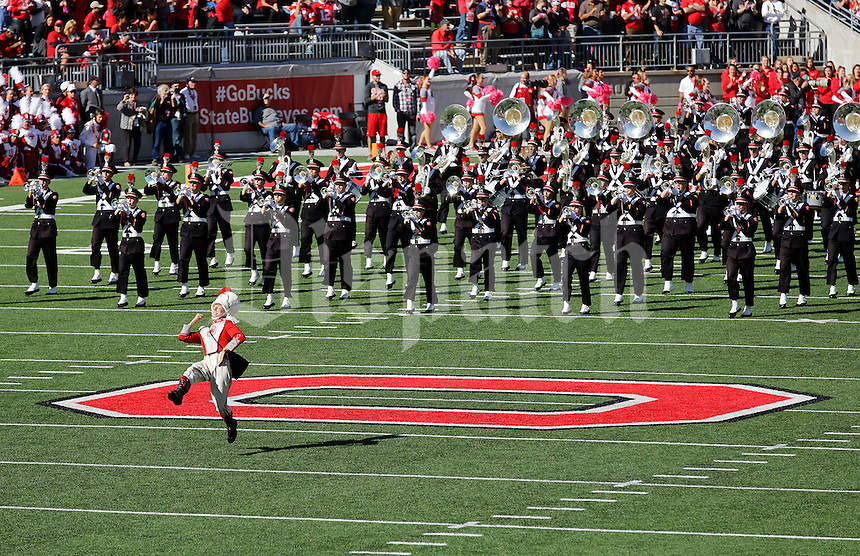 The Ohio State Marching Band enters the field prior to the NCAA football game against the Indiana Hoosiers at Ohio Stadium in Columbus on Oct. 8, 2016. (Adam Cairns / The Columbus Dispatch)