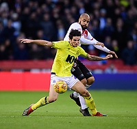 Blackburn Rovers' Lewis Travis vies for possession with Sheffield United's David McGoldrick<br /> <br /> Photographer Chris Vaughan/CameraSport<br /> <br /> The EFL Sky Bet Championship - Sheffield United v Blackburn Rovers - Saturday 29th December 2018 - Bramall Lane - Sheffield<br /> <br /> World Copyright © 2018 CameraSport. All rights reserved. 43 Linden Ave. Countesthorpe. Leicester. England. LE8 5PG - Tel: +44 (0) 116 277 4147 - admin@camerasport.com - www.camerasport.com