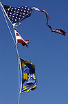 Hurricane Isabel left behind blue skies and ripped flags in Kill Devil Hills.
