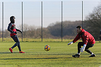 (L-R) Wilfried Bony and Erwin Mulder in action during the Swansea City Training at The Fairwood Training Ground, Swansea, Wales, UK. Thursday 11 January 2018