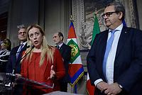 Roma, 4 Aprile 2018<br /> Fabio Rampelli, Giorgia Meloni, Stefano Bertacco<br /> Primo giorno di Consultazioni per la formazione del Governo