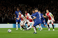 5th November 2019; Stamford Bridge, London, England; UEFA Champions League Football, Chelsea Football Club versus Ajax; Jorginho of Chelsea scores from the penalty spot for 1-1 in the 4th minute - Editorial Use
