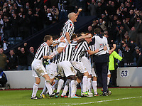 St Mirren players celebrate in the St Mirren v Celtic Scottish Communities League Cup Semi Final match played at Hampden Park, Glasgow on 27.1.13.