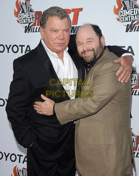 WILLIAM SHATNER & JASON ALEXANDER.attends The Comedy Central's Roast of William Shatner held at CBS STudios in Studio City, California, USA, .August 13, 2006.half length black suit white shirt hugging.Ref: DVS.www.capitalpictures.com.sales@capitalpictures.com.©Debbie VanStory/Capital Pictures