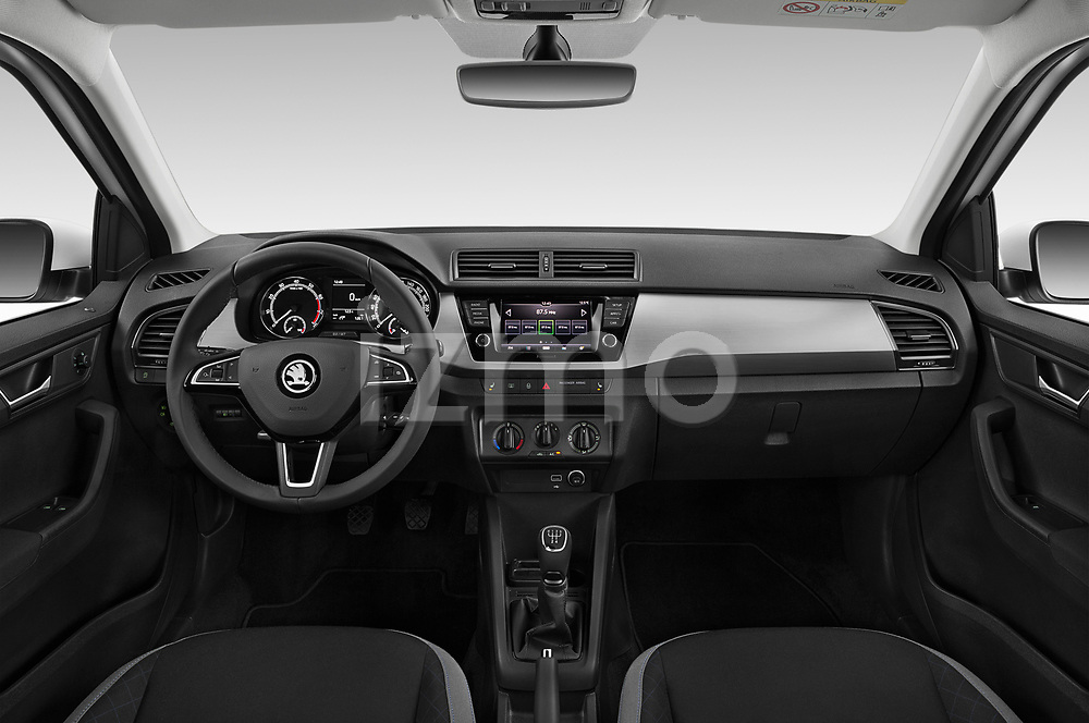 Stock photo of straight dashboard view of 2019 Skoda Fabia-Combi Ambition 5 Door Wagon Dashboard