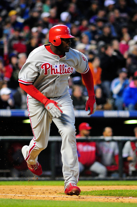 April 11, 2009: Phillies 1st baseman and 2009 National League Most Valuable Player candidate Ryan Howard during a game between the Philadelphia Phillies and the Colorado Rockies at Coors Field in Denver, Colorado. The Phillies beat the Rockies 8-4.