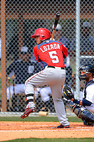 Washington Nationals infielder Jose Lozado #5 during a minor league Spring Training game against the Detroit Tigers at Tiger Town on March 22, 2013 in Lakeland, Florida.  (Mike Janes/Four Seam Images)