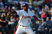 Brooklyn Cyclones pitcher Chris Hilliard (5) during game against the Staten Island Yankees at MCU Park in Brooklyn, NY June 19, 2010. Cyclones won 9-6.  Photo By Tomasso DeRosa/Four Seam Images