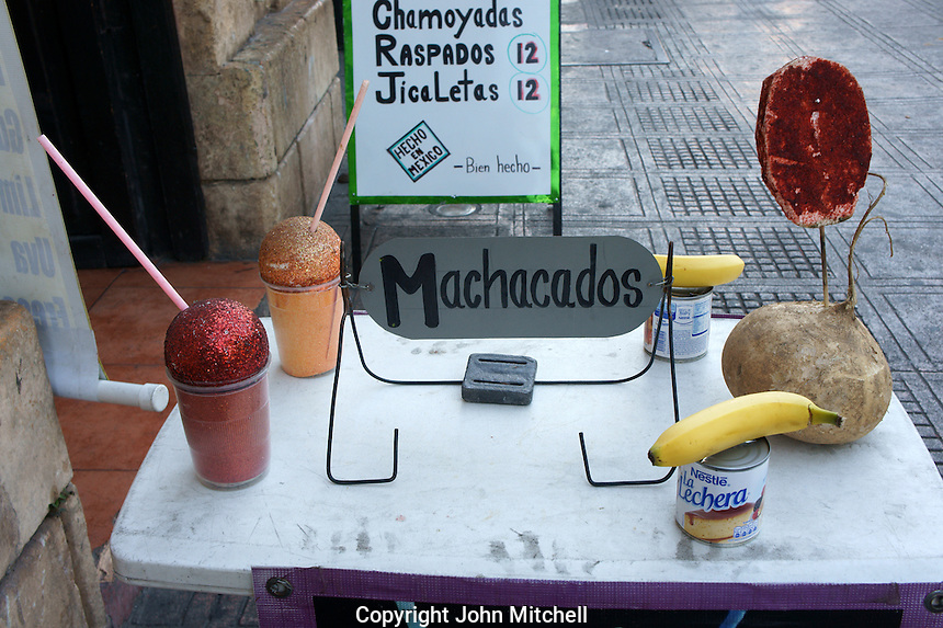 Table outside a smoothie and juice bar in downtown Merida, Yucatan, Mexico...