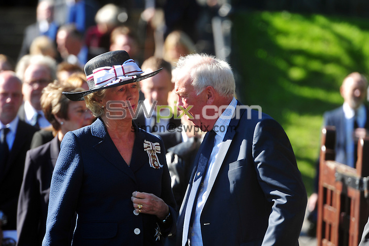 30 September 2015.......   Geoff Cope speaks to Dr Ingrid Roscoe, Lord Leiutenant of West Yorkshire at a memorial service for Yorkshire Cricket legend Brian Close at St Chads Church in Far Headingley. Picture Tony Johnson