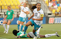 Marta (10) of Marta XI celebrates scoring her second goal during the Women's Professional Soccer (WPS) All-Star Game at KSU Stadium in Kennesaw, GA, on June 30, 2010.