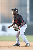 Marquez Smith # 7 of the Bakersfield Blaze during a game against the Lancaster JetHawks at The Hanger on May 13, 2014 in Lancaster California. Lancaster defeated Bakersfield, 1-0. (Larry Goren/Four Seam Images)