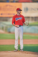 Orem Owlz starting pitcher Cole Duensing (34) gets ready to deliver a pitch during a game against the Ogden Raptors at Lindquist Field on August 3, 2018 in Ogden, Utah. The Raptors defeated the Owlz 9-4. (Stephen Smith/Four Seam Images)