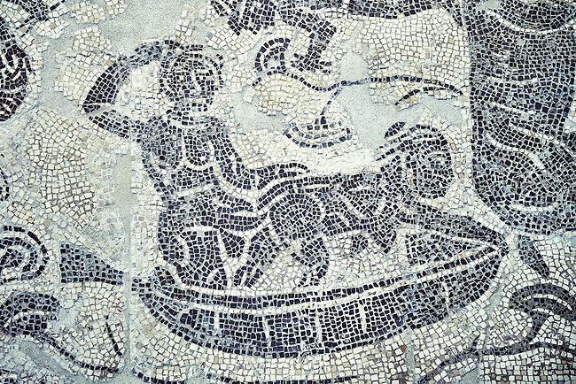 Erotic Roman Mosaic of Pigmies in boats fornicating on the River Nile from Rome, inv 122861,  Secret Museum or Secret Cabinet, Naples National Archaeological Museum , grey background