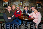 Ger Leahy, Brendan Purcell, James Allen, Thomas Harrington, Dave Carroll and Mary Allen attending the meeting about the ban on fishing in the Cashen river in Purcells Bar in Ballyduff on Thursday night