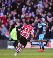 Lincoln City's Bruno Andrade celebrates scoring his side's second goal<br /> <br /> Photographer Andrew Vaughan/CameraSport<br /> <br /> The EFL Sky Bet League Two - Lincoln City v Stevenage - Saturday 16th February 2019 - Sincil Bank - Lincoln<br /> <br /> World Copyright © 2019 CameraSport. All rights reserved. 43 Linden Ave. Countesthorpe. Leicester. England. LE8 5PG - Tel: +44 (0) 116 277 4147 - admin@camerasport.com - www.camerasport.com