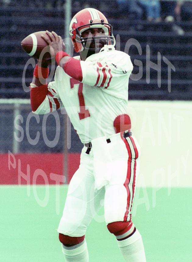 Bernard Quarles Calgary Stampeders 1984. Photo F. Scott Grant