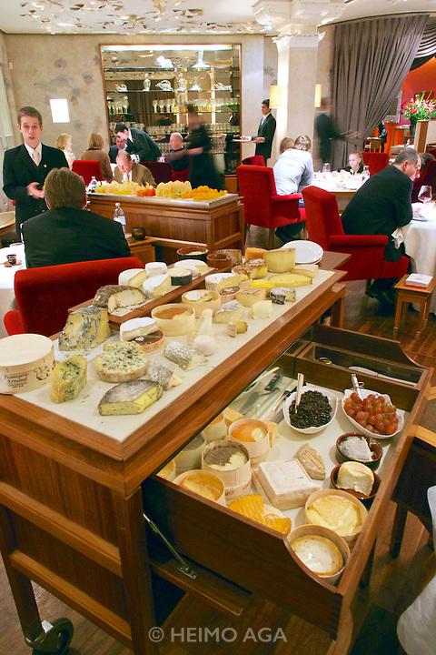 Vienna, Austria. The &quot;Steirereck&quot; with award winning Chef Heinz Reitbauer Junior is probably Vienna's best restaurant.<br /> The cheese car.