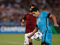 Calcio, Champions League, Gruppo E: Roma vs Barcellona. Roma, stadio Olimpico, 16 settembre 2015.<br /> FC Barcelona&rsquo;s Luis Suarez in action during a Champions League, Group E football match between Roma and FC Barcelona, at Rome's Olympic stadium, 16 September 2015.<br /> UPDATE IMAGES PRESS/Isabella Bonotto<br /> <br /> *** ITALY AND GERMANY OUT ***