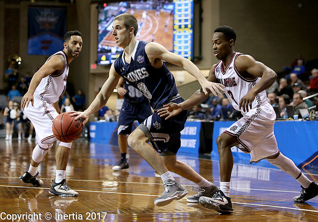 SIOUX FALLS, SD: MARCH 22: Ben Sonnefeld #3 from Colorado Mines drives past Al Davis #3 from Bellarmine during the Men's Division II Basketball Championship Tournament on March 22, 2017 at the Sanford Pentagon in Sioux Falls, SD. (Photo by Dave Eggen/Inertia)