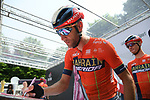 Vincenzo Nibali (ITA) Bahrain-Merida at sign on before the start of Stage 13 of the 2019 Giro d'Italia, running 196km from Pinerolo to Ceresole Reale (Lago Serrù), Italy. 24th May 2019<br /> Picture: Gian Mattia D'Alberto/LaPresse | Cyclefile<br /> <br /> All photos usage must carry mandatory copyright credit (© Cyclefile | Gian Mattia D'Alberto/LaPresse)