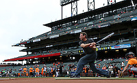 SAN FRANCISCO, CA - AUGUST 8:  KNBR radio personality Paul McCaffrey takes batting practice before the game between the Milwaukee Brewers and San Francisco Giants at AT&T Park on Thursday, August 8, 2013 in San Francisco, California. Photo by Brad Mangin