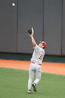 Outfielder Ricky Eisenberg #10 of the Oklahoma Sooners makes a catch against the Texas Longhorns in NCAA Big XII baseball on May 1, 2011 at Disch Falk Field in Austin, Texas. (Photo by Andrew Woolley / Four Seam Images)