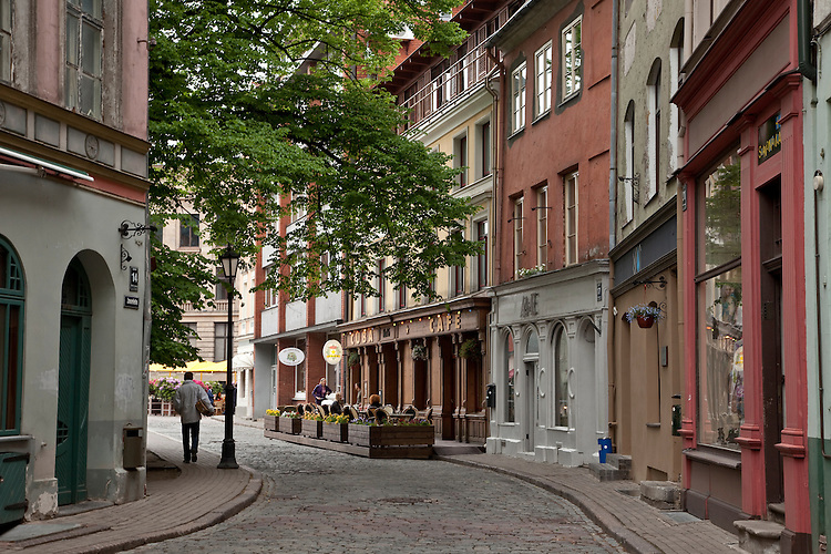 Winding cobblestone streets of Riga,Latvia