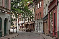 Winding cobblestone streets of Riga,Latvia