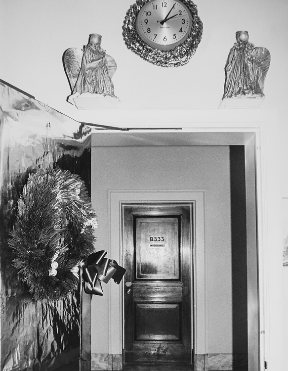 Decorated office House Energy and Commerce Committee with wreath and angels during Christmas contest in 1983. (Photo by CQ Roll Call via Getty Images)