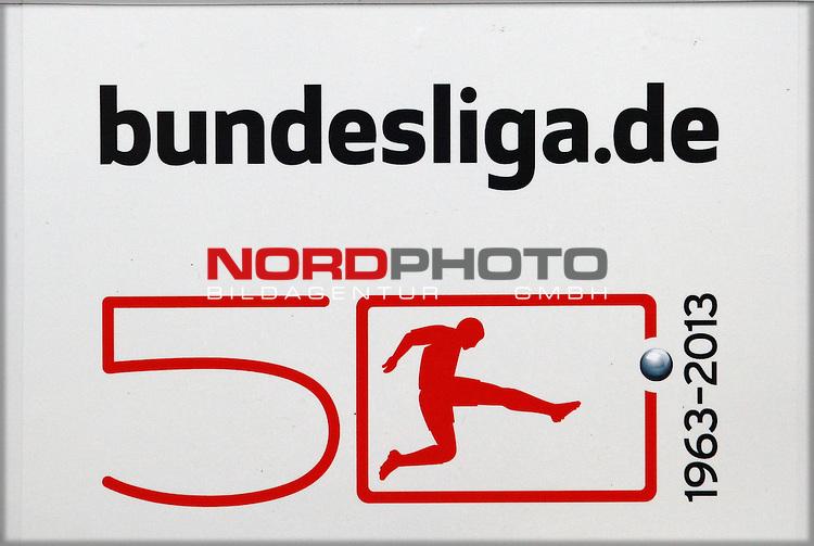 26.09.2012, AWD-Arena, Hannover, Hannover 96 vs 1. FC Nuernberg, im Bild Logo 50 Jahre Bundesliga<br /> <br /> // during the Match Hannover 96 vs 1. FC Nuernberg, AWD-Arena, Hannover, Germany, on 2012/09/26<br /> Foto &copy; nph / Sielski *** Local Caption ***