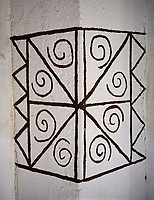 Reconstruction of a geometric wall painting of building 77 of the north area, 7500 BC to 5700 BC, Catalyhoyuk Archaeological Site, Çumra, Konya, Turkey