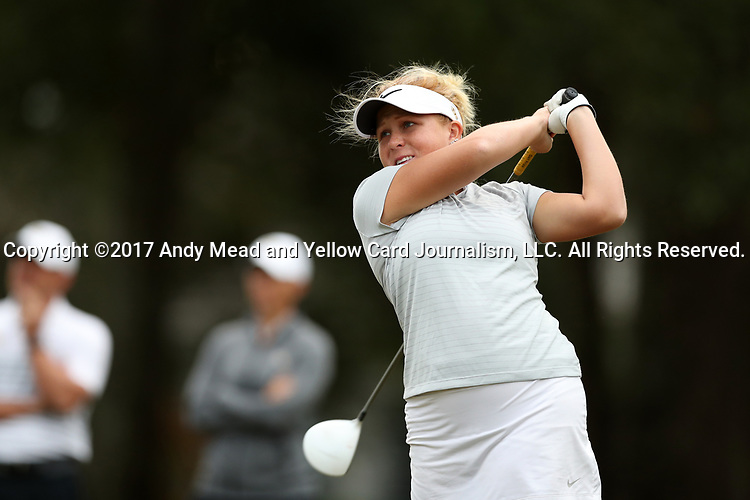 WILMINGTON, NC - OCTOBER 28: UCF's Anna Hack on the 10th tee. The second round of the Landfall Tradition Women's Golf Tournament was held on October 28, 2017 at the Pete Dye Course at the Country Club of Landfall in Wilmington, NC.