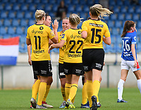 20190807 - DENDERLEEUW, BELGIUM : LSK's players pictured celebrating the 2-0 lead after a goal from Therese Asland (middle) during the female soccer game between the Norwegian LSK Kvinner Fotballklubb Ladies and the Northern Irish Linfield ladies FC , the first game for both teams in the Uefa Womens Champions League Qualifying round in group 8 , Wednesday 7 th August 2019 at the Van Roy Stadium in Denderleeuw  , Belgium  .  PHOTO SPORTPIX.BE for NTB  | DAVID CATRY