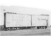 Side view of D&amp;RGW short reefer #34 at Durango.<br /> D&amp;RGW  Durango, CO  Taken by Payne, Andy M. - 8/9/1956