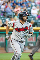 Matt Pagnozzi (10) of the Nashville Sounds at bat against the Salt Lake Bees in Pacific Coast League action at Smith's Ballpark on June 23, 2014 in Salt Lake City, Utah.  (Stephen Smith/Four Seam Images)