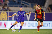 Orlando, Florida - Sunday, May 14, 2016: Orlando Pride midfielder Becky Edwards (14) plays a ball away from Western New York Flash midfielder Samantha Mewis (5) during a National Women's Soccer League match between Orlando Pride and New York Flash at Camping World Stadium.