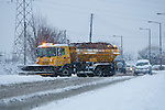 Pix: Shaun Flannery/shaunflanneryphotography.com...COPYRIGHT PICTURE>>SHAUN FLANNERY>01302-570814>>07778315553>>..1st December 2010...........Snowfall in the United Kingdom, December 2010..A snowplough at work on Melton Road, Sprotbrough