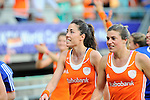 The Hague, Netherlands, June 12: (L) Naomi van As #18 of The Netherlands looks on after winning the field hockey semi-final match (Women) between The Netherlands and Argentina on June 12, 2014 during the World Cup 2014 at Kyocera Stadium in The Hague, Netherlands. Final score 4-0 (3-0)  (Photo by Dirk Markgraf / www.265-images.com) *** Local caption ***