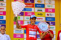 LA UNION - COLOMBIA, 16-02-2019: Oscar Quiroz (COL), Coldeportes Bicicletas Strongman, celebra como el mas combativo después de la quinta etapa del Tour Colombia 2.1 2019 con un recorrido de 176.8 Km, que se corrió con salida y llegada en La Union, Antioquia. /  Oscar Quiroz (COL), Coldeportes Bicicletas Strongman, , celebrates as the most combative after the fifth stage of 176.8 km of Tour Colombia 2.1 2019 that ran with start and arrival in La Union, Antioquia.  Photo: VizzorImage / Anderson Bonilla / Cont