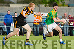 In Action S. Kerry's Sean Cournane gets away from stacks Barry Walsh at the Garvey's Supervalu Senior County Football Championship Round 2A at Connolly Park on Saturday Austin Stacks V South Kerry