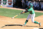 24 April 2016: Notre Dame's Micaela Arizmendi hits a home run. The University of North Carolina Tar Heels hosted the University of Notre Dame Fighting Irish at Anderson Stadium in Chapel Hill, North Carolina in a 2016 NCAA Division I softball game. UNC won game 1 of the doubleheader 7-4.