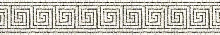 "6 1/2"" Alpha border, a hand-cut stone mosaic, shown in tumbled Verde Alpi and Thassos."